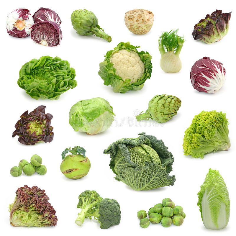 Cabbage and green vegetable collection stock photos