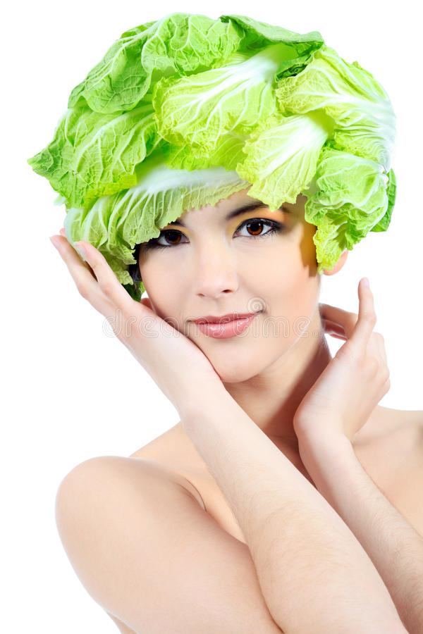 Cabbage hat royalty free stock image