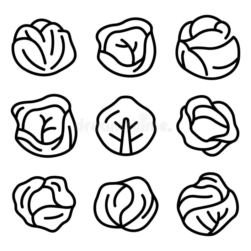 Cabbage icons set, outline style royalty free stock photography