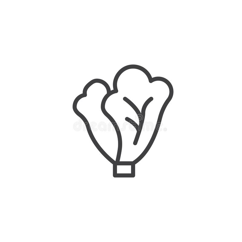 Cabbage leaves line icon. Linear style sign for mobile concept and web design. Lettuce outline vector icon. Symbol, logo illustration. Vector graphics vector illustration