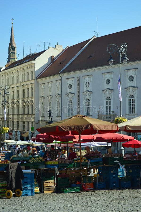 Brno Cabbage Market, Moravia, Czech Republic. Cabbage Market Zelný trh is situated in the middle of the historical city centre in Brno began on 13th century stock images