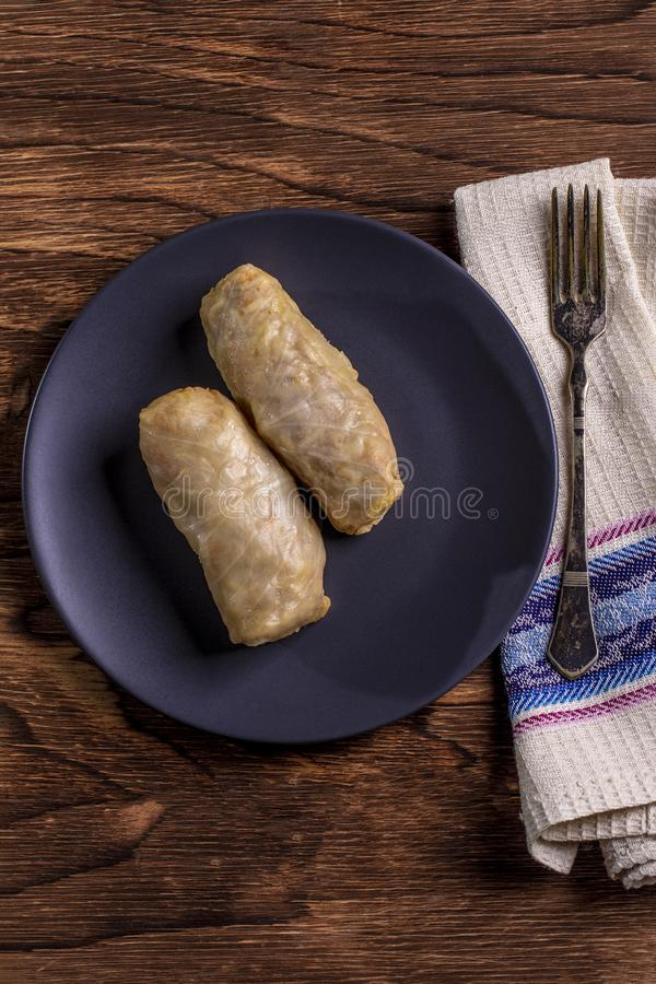 Cabbage rolls with beef, rice and vegetables. Stuffed cabbage leaves with meat. Dolma, sarma, sarmale, golubtsy or golabki. stock photography