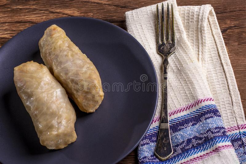 Cabbage rolls with beef, rice and vegetables. Stuffed cabbage leaves with meat. Dolma, sarma, sarmale, golubtsy or golabki. Horizontal royalty free stock photography