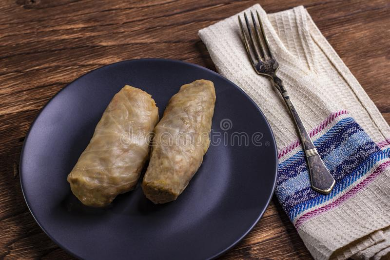 Cabbage rolls with beef, rice and vegetables. Stuffed cabbage leaves with meat. Dolma, sarma, sarmale, golubtsy or golabki. Horizontal royalty free stock photos