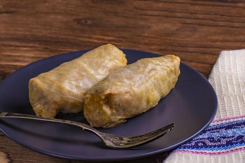 Cabbage rolls with beef, rice and vegetables. Stuffed cabbage leaves with meat. Dolma, sarma, sarmale, golubtsy or golabki. Horizontal stock images