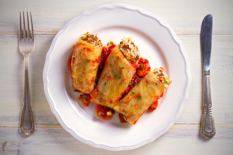Cabbage rolls with meat, rice and vegetables. Chou farci, dolma, sarma, sarmale, golubtsy - popular dish in many countr. Cabbage rolls with meat, rice and royalty free stock photography