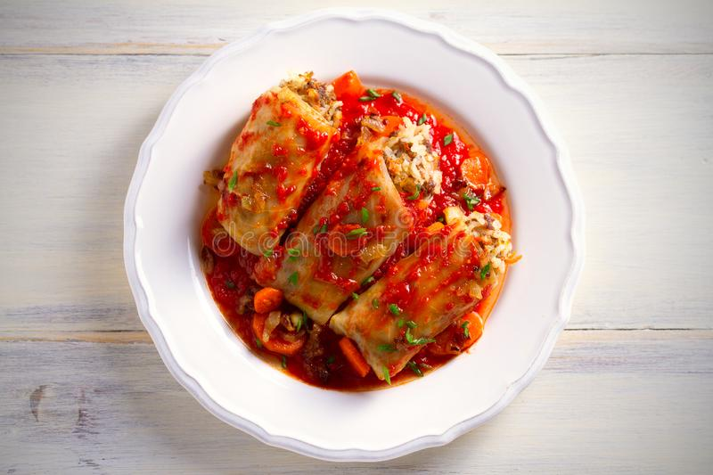 Cabbage rolls with meat, rice and vegetables. Chou farci, dolma, sarma, sarmale, golubtsy - popular dish in many countr. Cabbage rolls with meat, rice and stock image