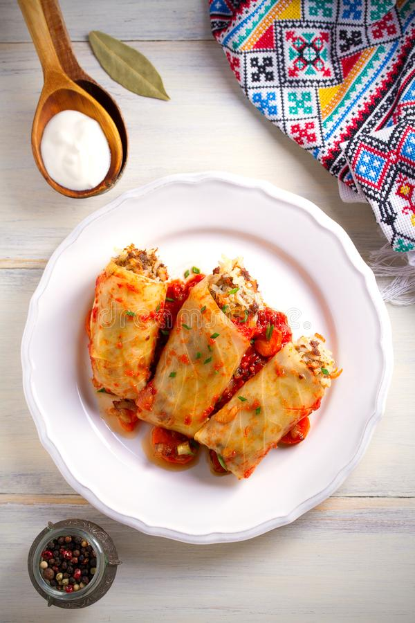 Cabbage rolls with meat, rice and vegetables. Chou farci, dolma, sarma, sarmale, golubtsy - popular dish in many countr. Cabbage rolls with meat, rice and stock photography