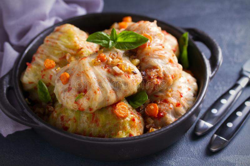 Cabbage rolls with meat, rice and vegetables. Stuffed cabbage leaves with meat. Chou farci, dolma, sarma, golubtsi or golabki. Cabbage rolls with meat, rice and royalty free stock photography