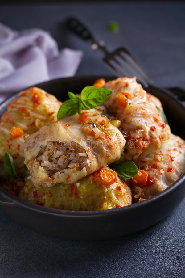 Cabbage rolls with meat, rice and vegetables. Stuffed cabbage leaves with meat. Chou farci, dolma, sarma, golubtsi or golabki. Cabbage rolls with meat, rice and stock photography