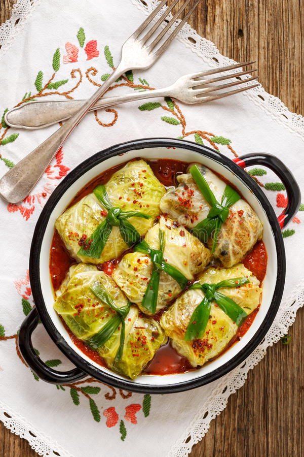 Cabbage rolls, stuffed cabbage stewed in tomato sauce stock photos