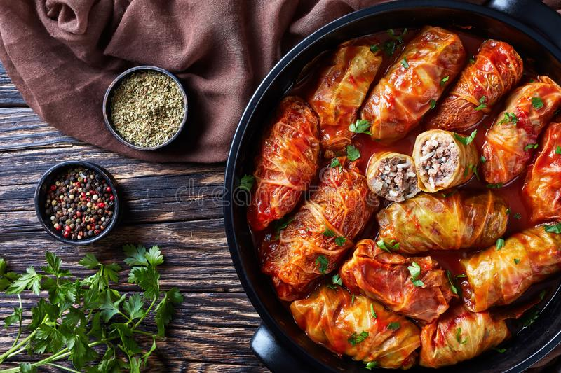 Cabbage rolls stuffed with ground beef stock photos