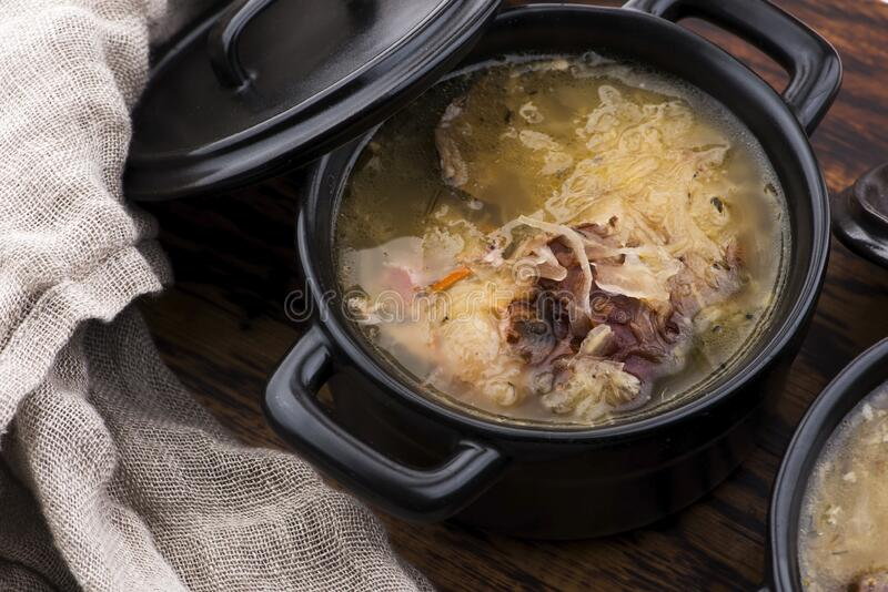 Cabbage soup with meat stock photos