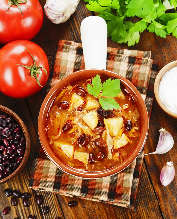 Cabbage soup with red beans. Traditional russian cuisine royalty free stock images