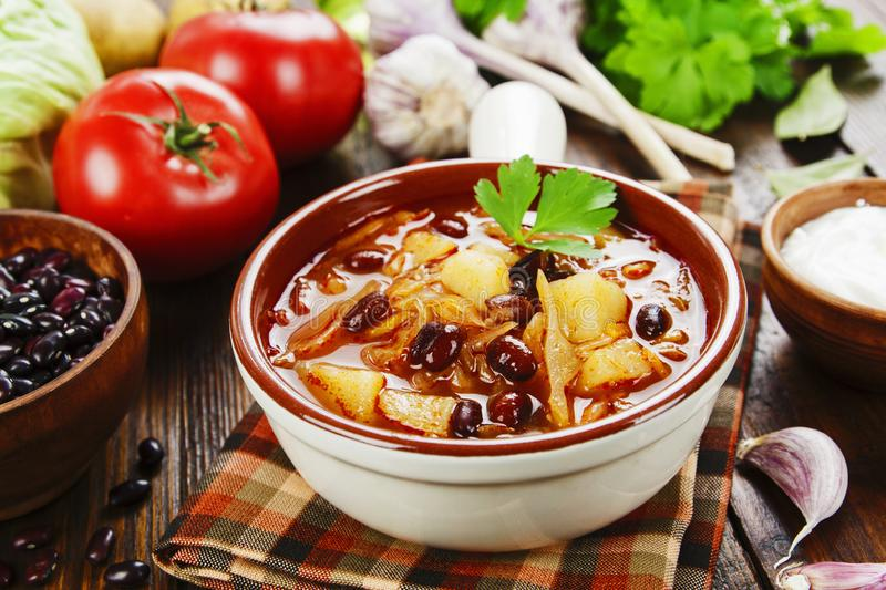 Cabbage soup with red beans. Traditional russian cuisine royalty free stock photo