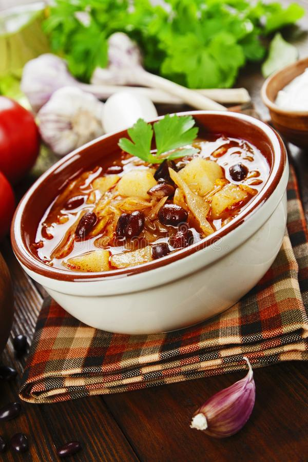 Cabbage soup with red beans. Traditional russian cuisine stock photos