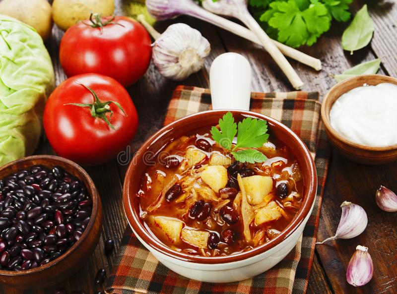 Cabbage soup with red beans. Traditional russian cuisine stock images
