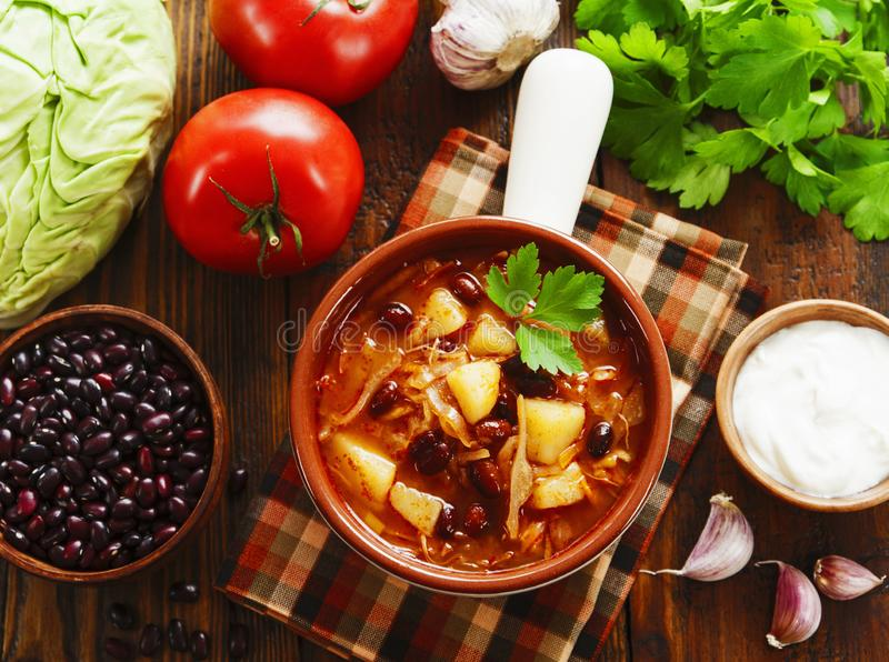 Cabbage soup with red beans. Traditional russian cuisine royalty free stock photos