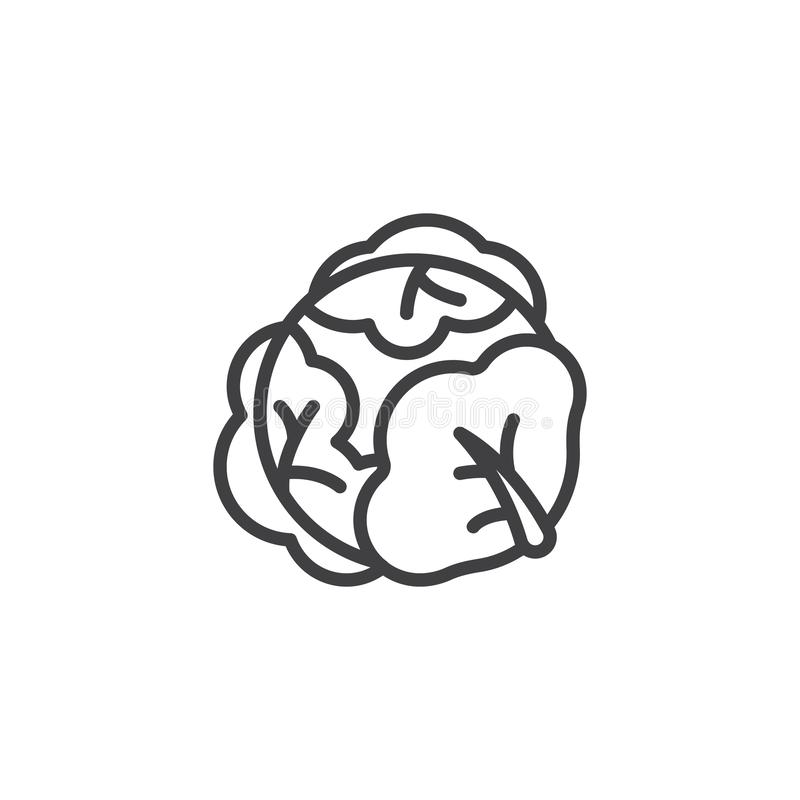 Cabbage vegetable line icon. Linear style sign for mobile concept and web design. Cabbage with big leaves outline vector icon. Symbol, logo illustration vector illustration
