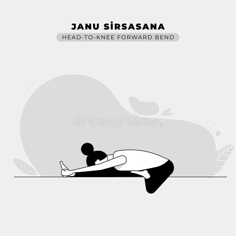 Cabeça à ilustração dianteira da pose da ioga da curvatura do joelho ilustração do vetor