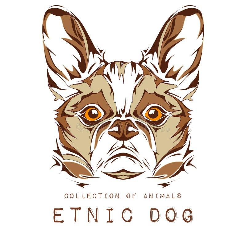 Cabeça étnica do cão no projeto branco do totem/tatuagem do fundo Uso para a cópia, cartazes, t-shirt Ilustração do vetor ilustração stock