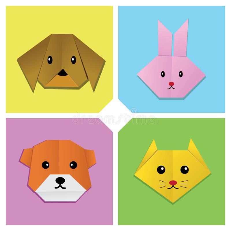 Cabeça animal 1 de Origami ilustração stock
