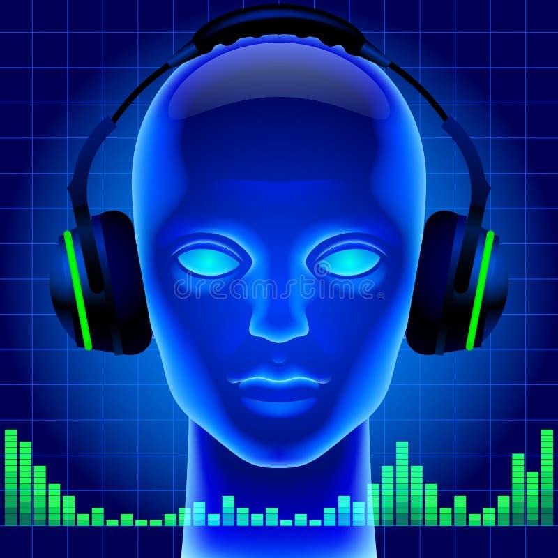 Cabeça artificial futurista na luz azul com fones de ouvido e gre ilustração do vetor
