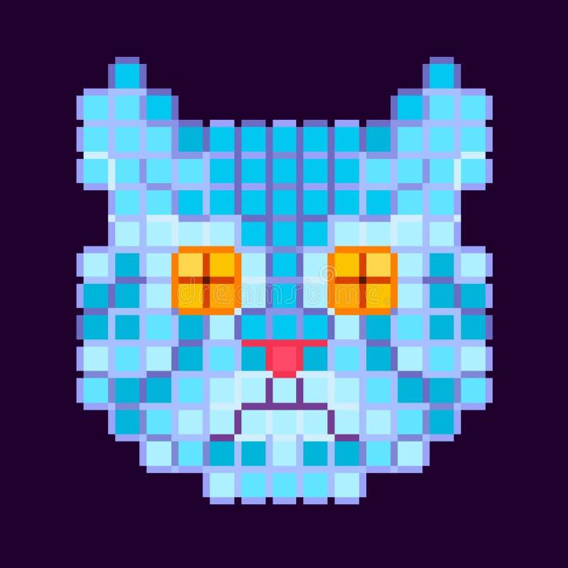 Cabeça azul de um gato em um fundo escuro ilustração stock