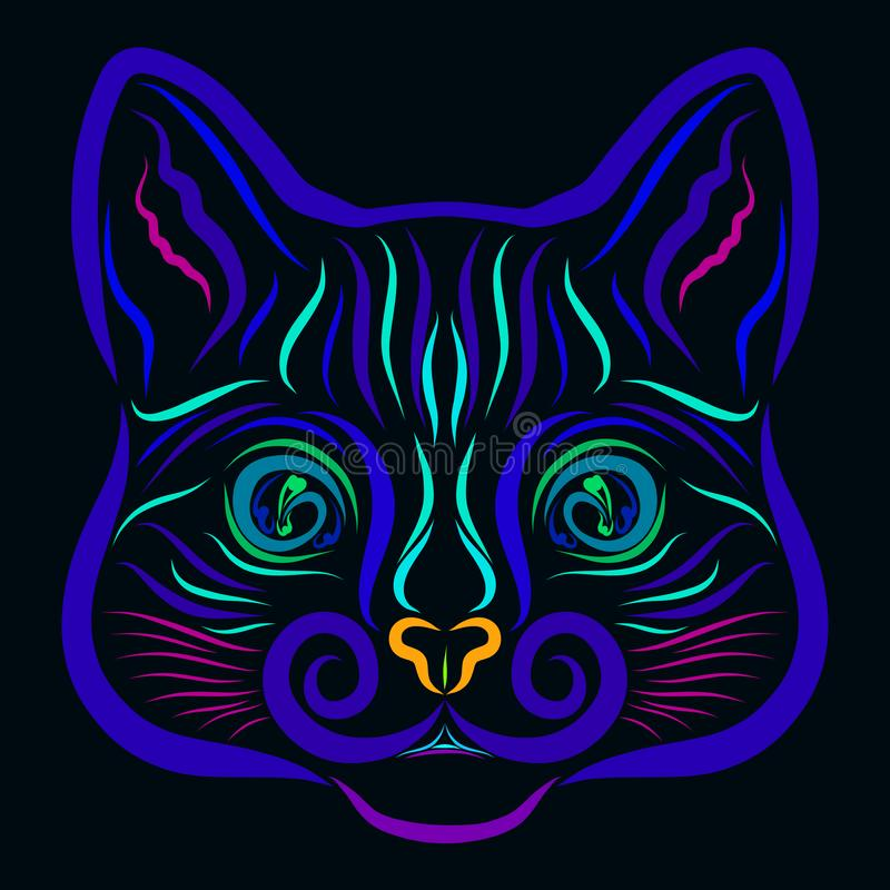 Cabeça azul de um gato mágico em um fundo preto, teste padrão ilustração stock