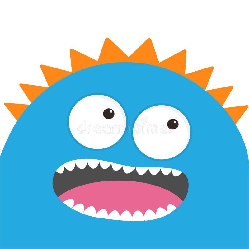 Cabeça azul do monstro com dois olhos, dentes, língua Personagem de banda desenhada bonito engraçado Coleção do bebê Cartão feliz ilustração stock
