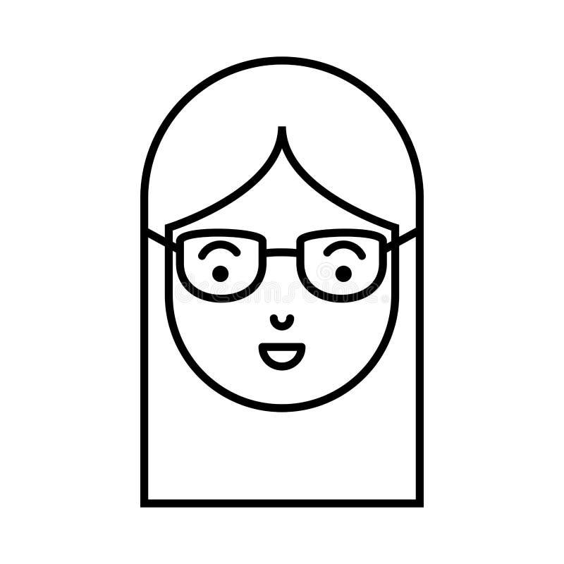 Cabeça bonita e da jovem mulher com vidros ilustração do vetor