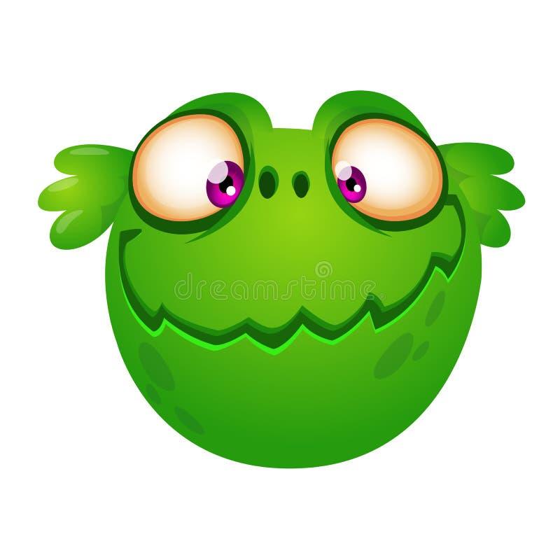 Cabeça bonito do estrangeiro do verde dos desenhos animados Vector a ilustração para o livro de crianças, etiqueta, cópia ilustração do vetor