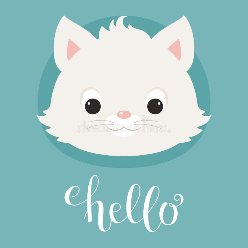Cabeça bonito do gatinho/gato ilustração do vetor