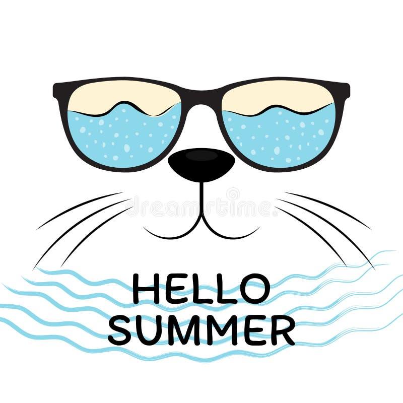 Cabeça bonito do gato com os óculos de sol pretos isolados no fundo branco verão do texto olá! Elemento do projeto moderno para t ilustração do vetor