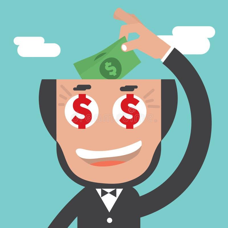 Cabeça calva de Keeps Banknotes In do homem de negócios ilustração stock