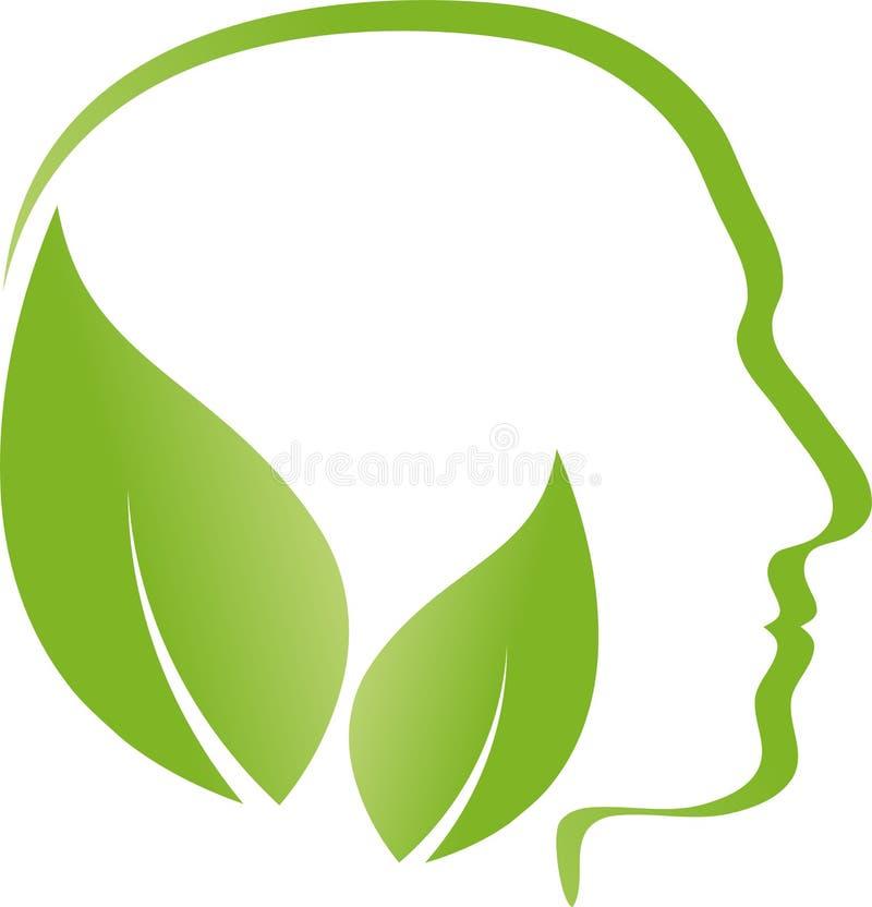 Cabeça, cara e folhas, médico alternativo e logotipo humano ilustração do vetor