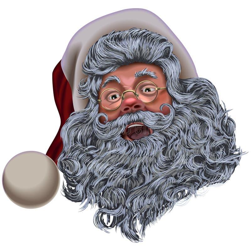 Cabeça cinzenta de Santa Claus na capa ilustração do vetor