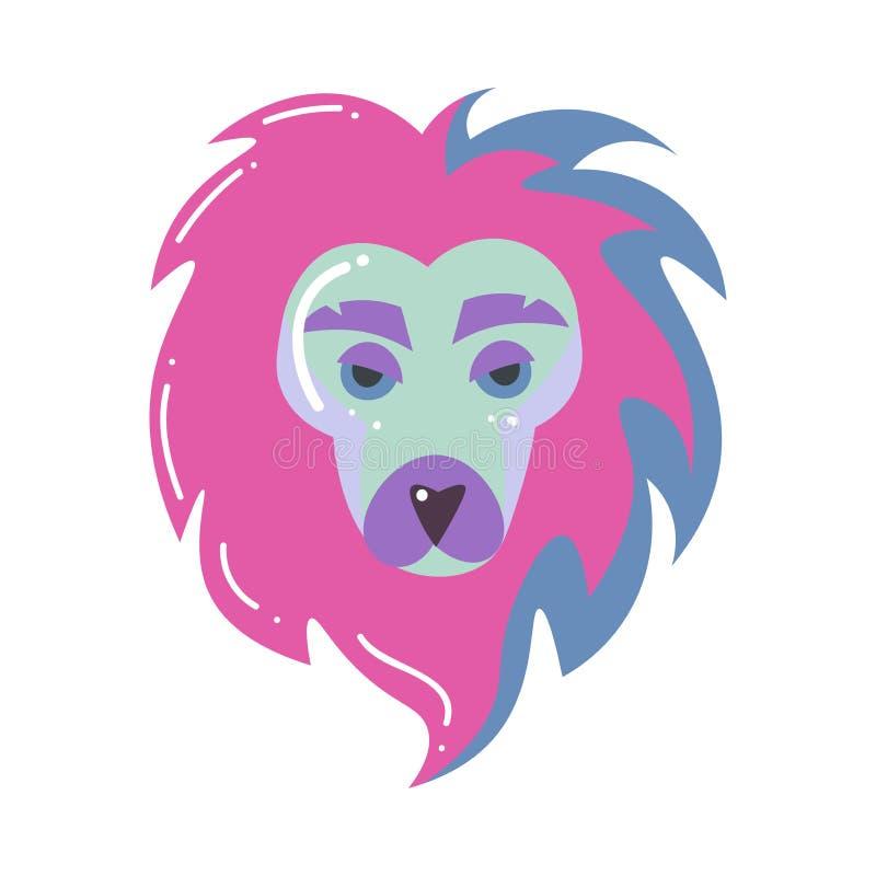 Cabeça colorida do leão, sinal do zodíaco de leo, projeto moderno ilustração royalty free