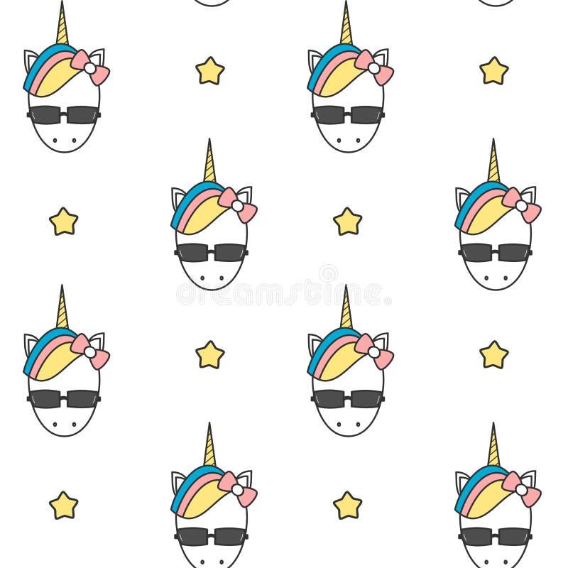 Cabeça colorida do unicórnio dos desenhos animados bonitos com ilustração sem emenda do fundo do teste padrão dos óculos de sol ilustração do vetor