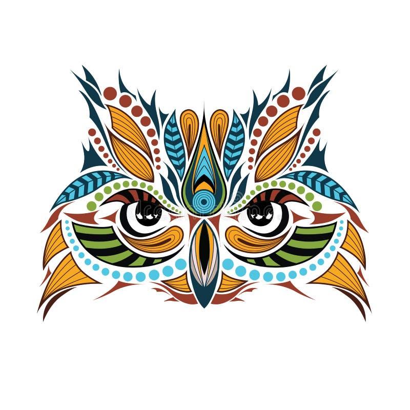 Cabeça colorida modelada da coruja Projeto africano/indiano/totem/tatuagem ilustração do vetor