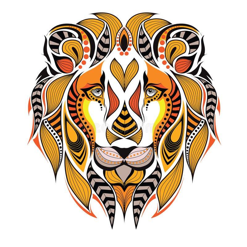 Cabeça colorida modelada de um leão ilustração do vetor