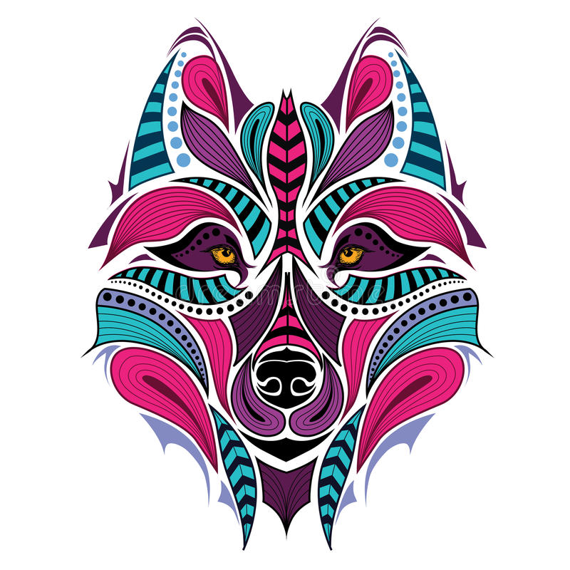 Cabeça colorida modelada do lobo Projeto africano/indiano/totem/tatuagem ilustração royalty free