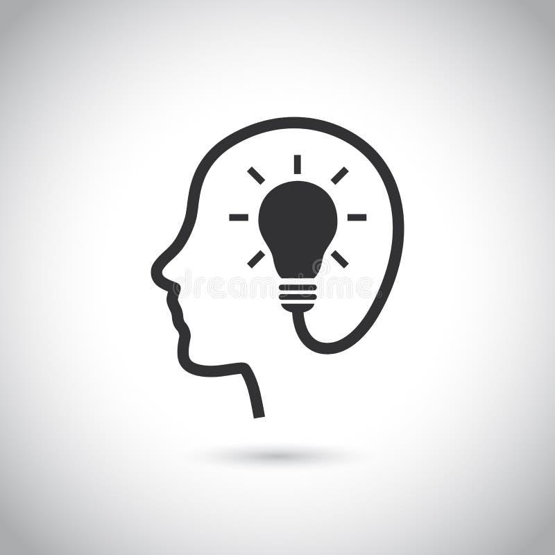 Cabeça com ícone do bulbo no fundo cinzento ilustração royalty free