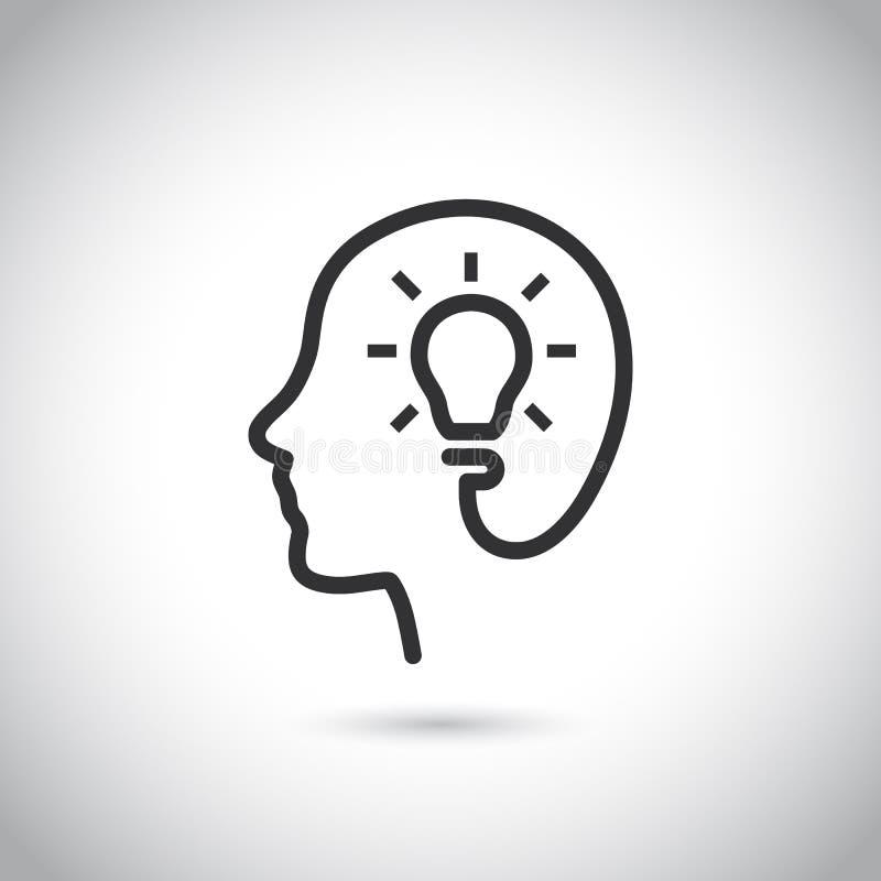 Cabeça com ícone do bulbo no fundo cinzento ilustração stock