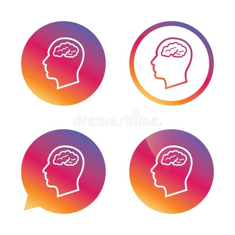 Cabeça com ícone do sinal do cérebro Cabeça humana masculina ilustração royalty free