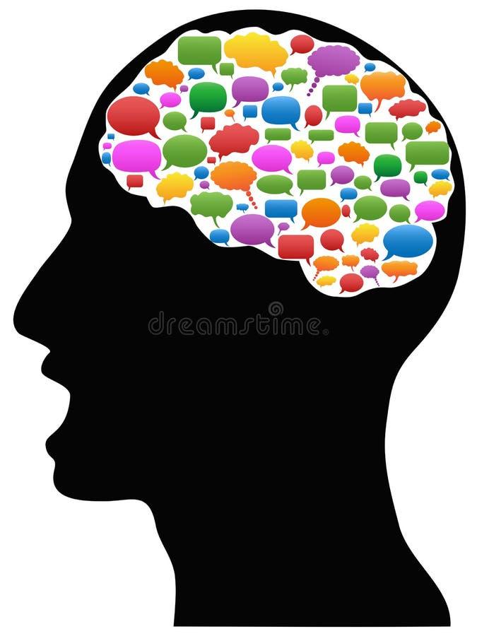 Cabeça com bolhas do discurso ilustração stock