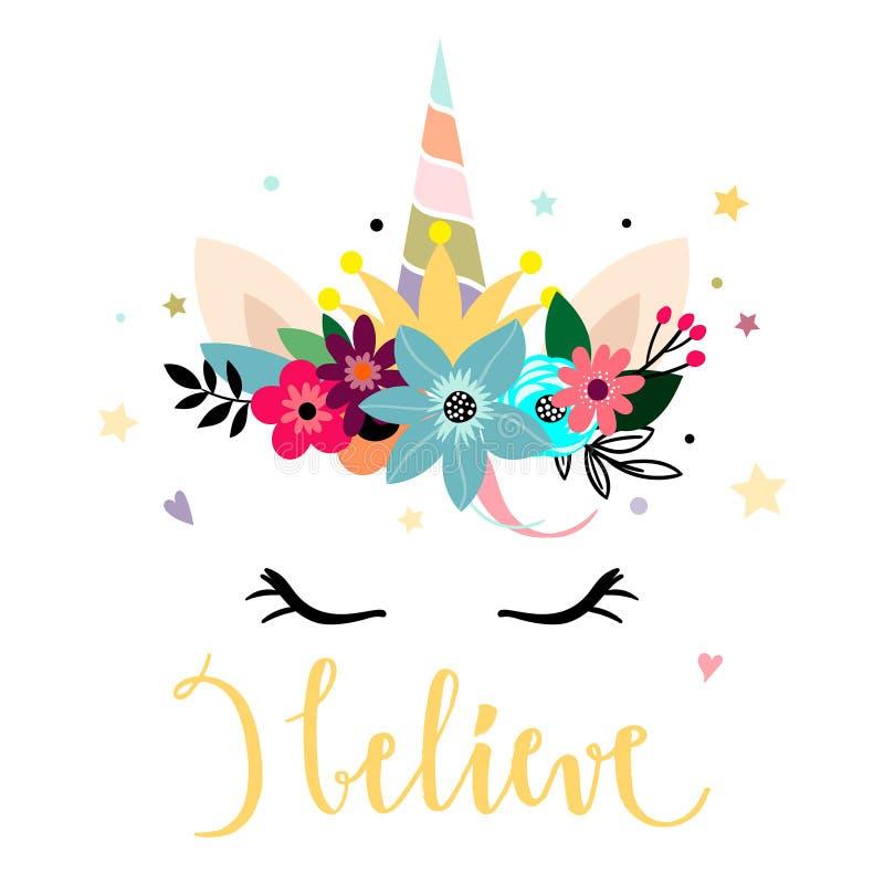 Cabeça com flores, projeto do unicórnio de cartão imprimível ilustração royalty free