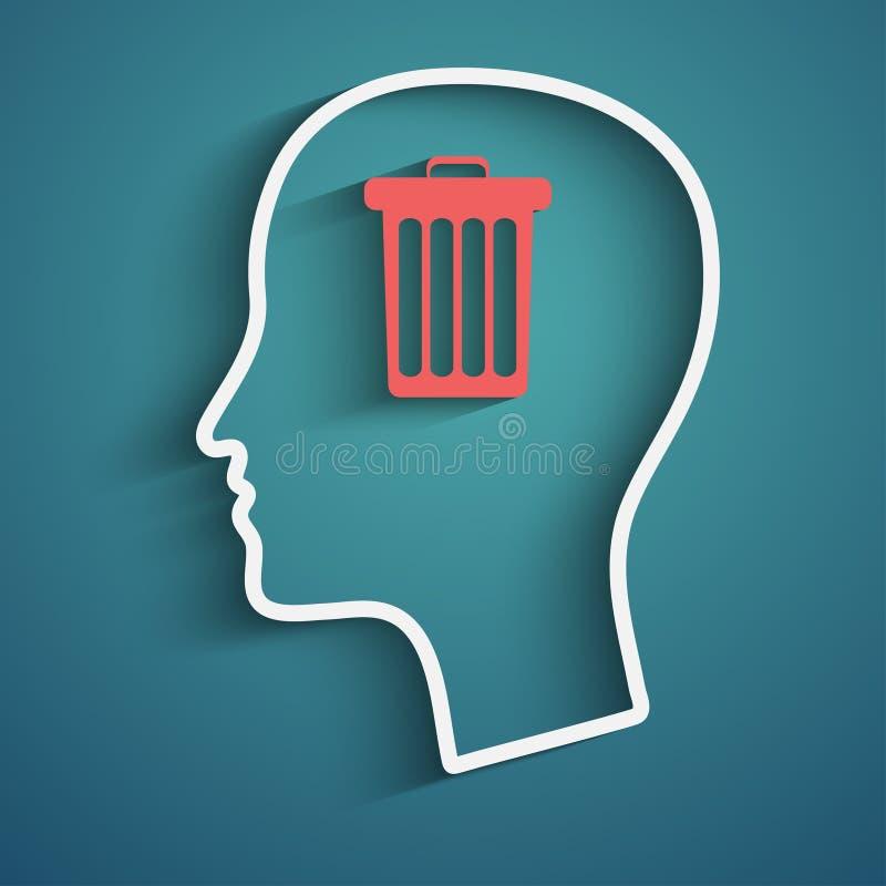 Cabeça com lixo ilustração royalty free