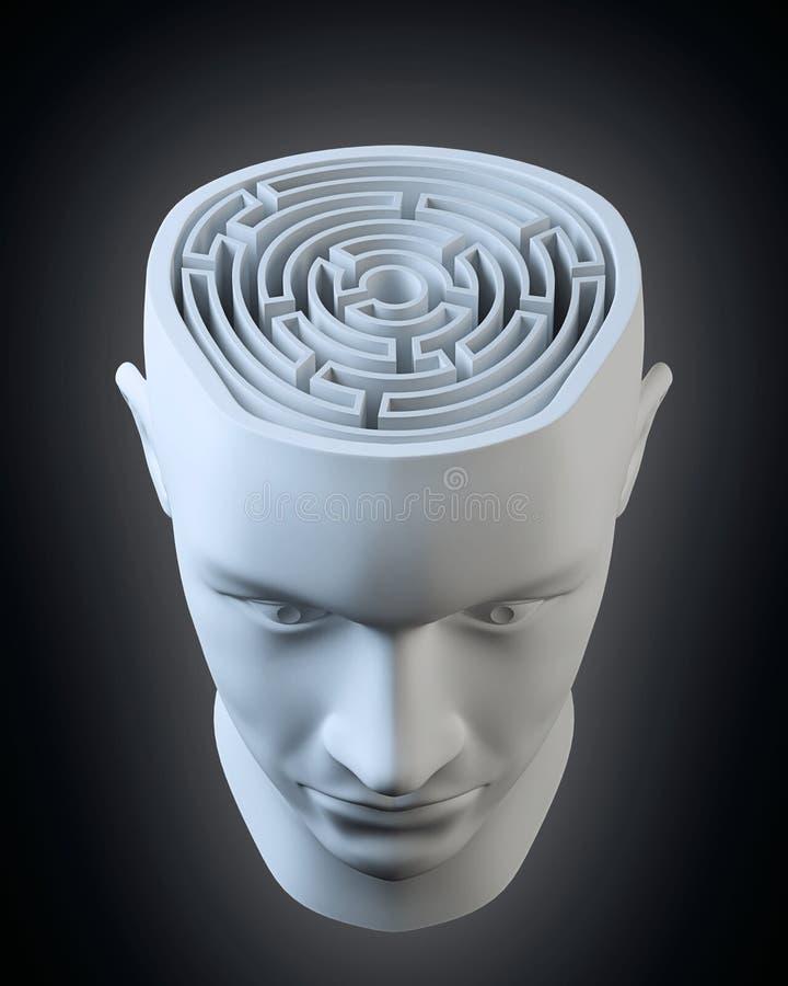 Cabeça com um labirinto para dentro ilustração do vetor