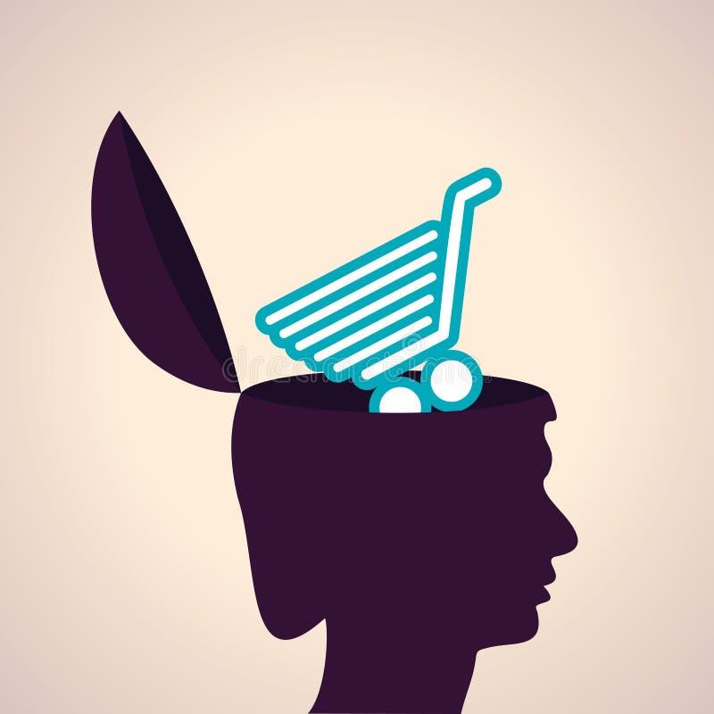 Cabeça conceito-humana de pensamento com sym do carrinho de compras ilustração royalty free